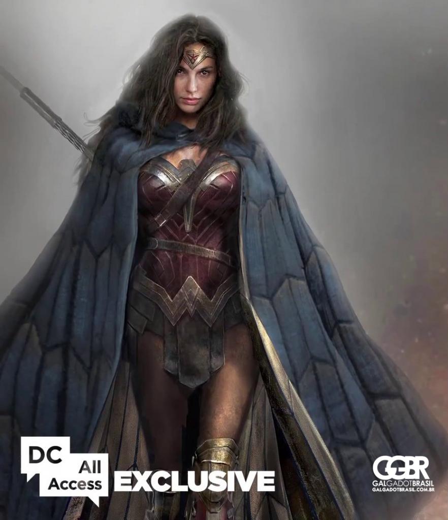 """Arte conceitual de """"Batman v Superman"""" para o figurino da Mulher-Maravilha"""